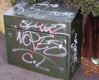 Graffiti on street furniture